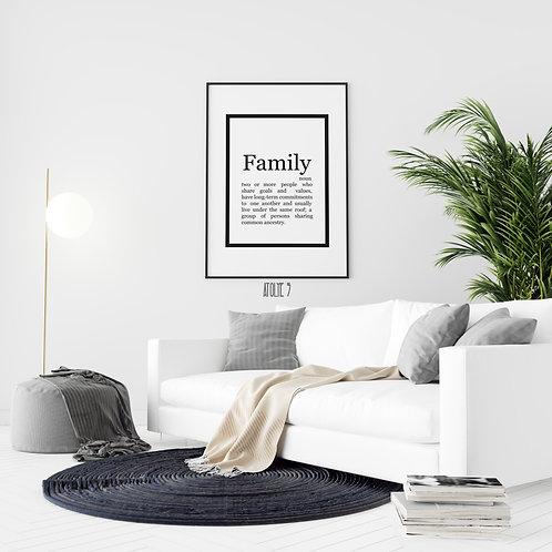 Family & Anlamı Yazılı/ Motto Poster