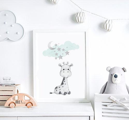 Zürafa / Mavi Seri Poster ÇO018