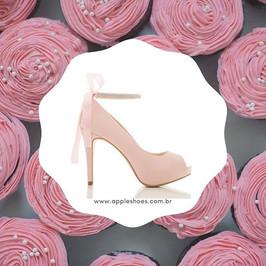 O que acham do peep toe em cetim rose, p