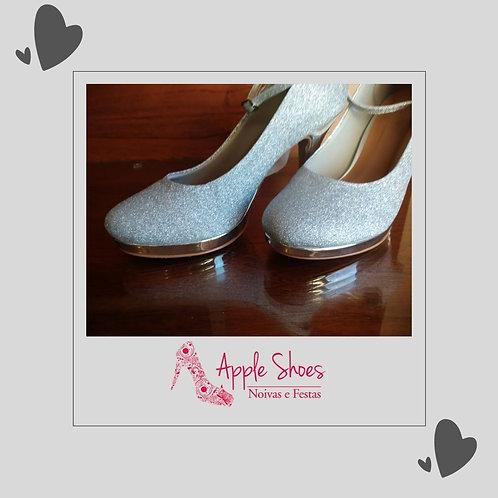 Sapato de Festa Glitter Prata