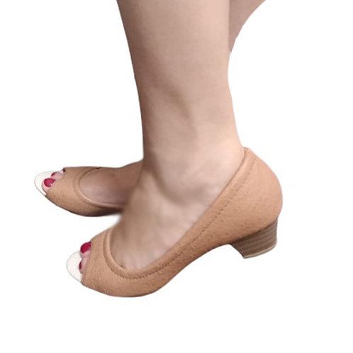 Promoção 2 Peep Toes Nude Rose e Avestruz Salto Bloco Baixo