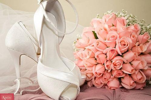 Sandália de Noiva Branca Meia Pata