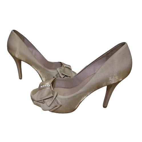 Sapato de Festa Cetim Nude Areia