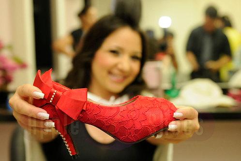 Sapato de Festa Renda Vermelho