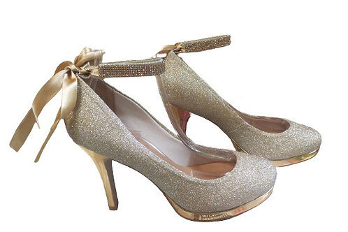 Sapato de Festa Boneca Glitter Dourado