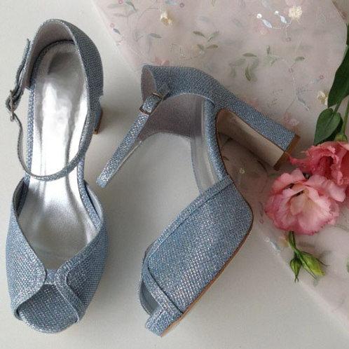 Sandália Glitter Azul salto bloco