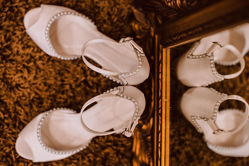 Sapato Noiva Branco Pérolas Salto Bloco
