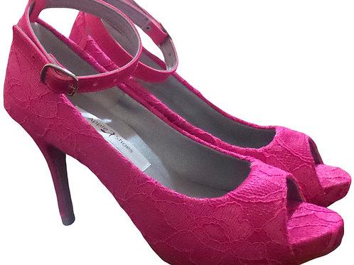Sapato de Festa Renda Pink