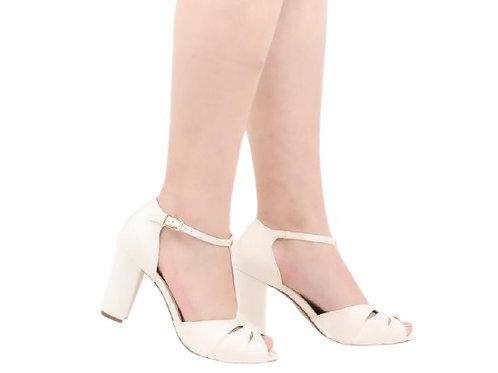 Sandália de Noiva Salto Bloco