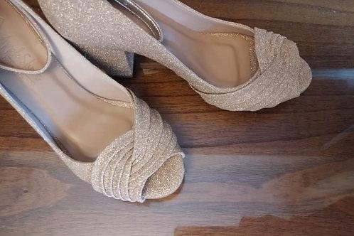 Peep Toe Glitter Dourado Salto Bloco