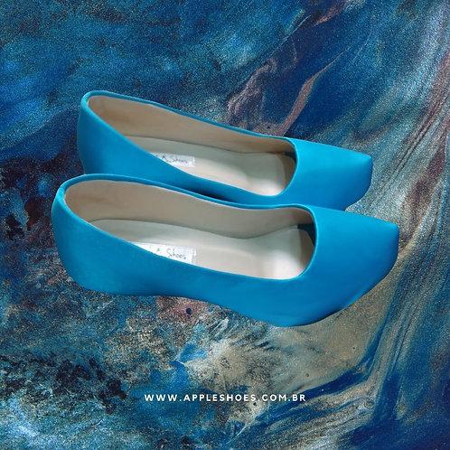 Sapato de Festa Azul Turquesa Salto Baixo
