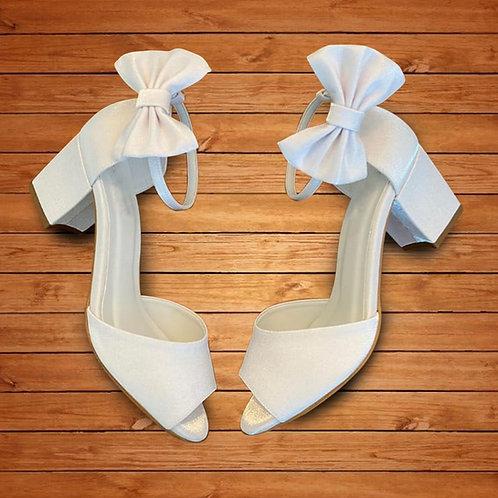 Sandália de Noiva Branca Salto Bloco
