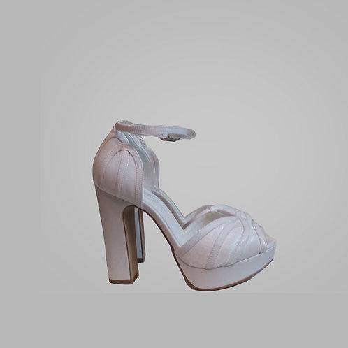 Sandália Branca Noiva Salto Bloco