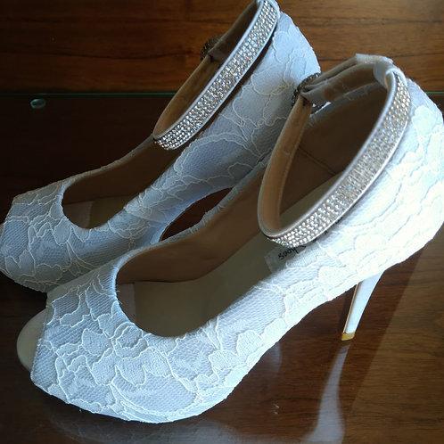 Sapato de Noiva Renda Branca