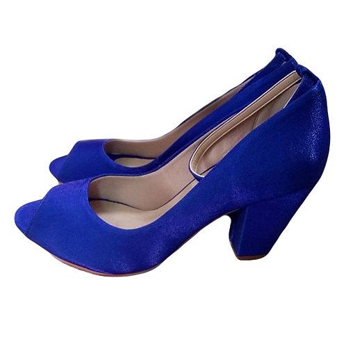 Sapato de Festa Azul Royal Salto Bloco