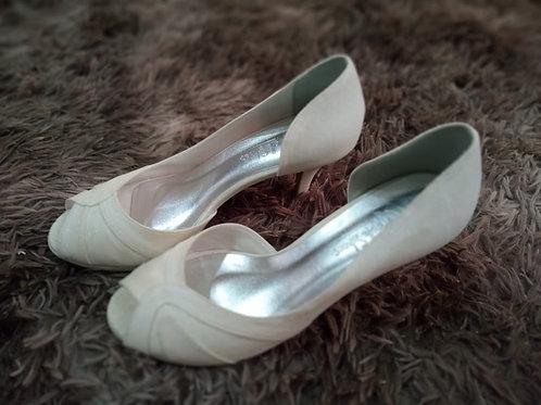 Peep Toe Noiva Glitter Branco