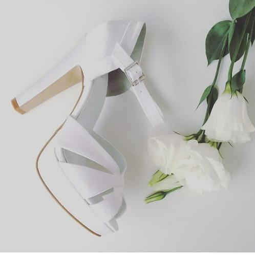 Sandália de Noiva Branca Cristal Salto Bloco