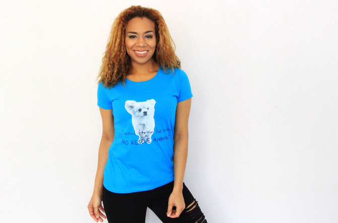 Every ladies t.shirt sold raises a £3 donation....this feeds a street animal in Jamaica for one week