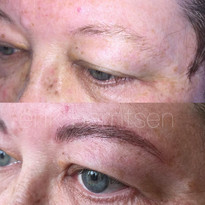 These brows have been done to replicate texture, depth, and movement while staying symmetrical but true to the natural shape.