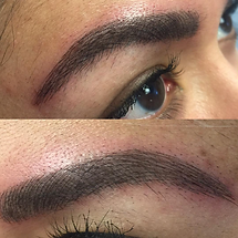 Microblading & subtle shading give this brow depth and fullness without sacrificing a natural look.