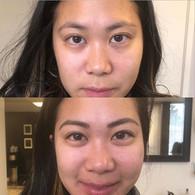 Healed brows and upper eyeliner.