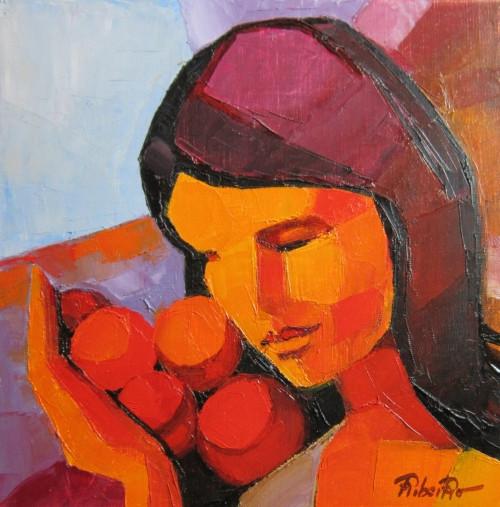 Femme aux fruits  30x30   Vendu