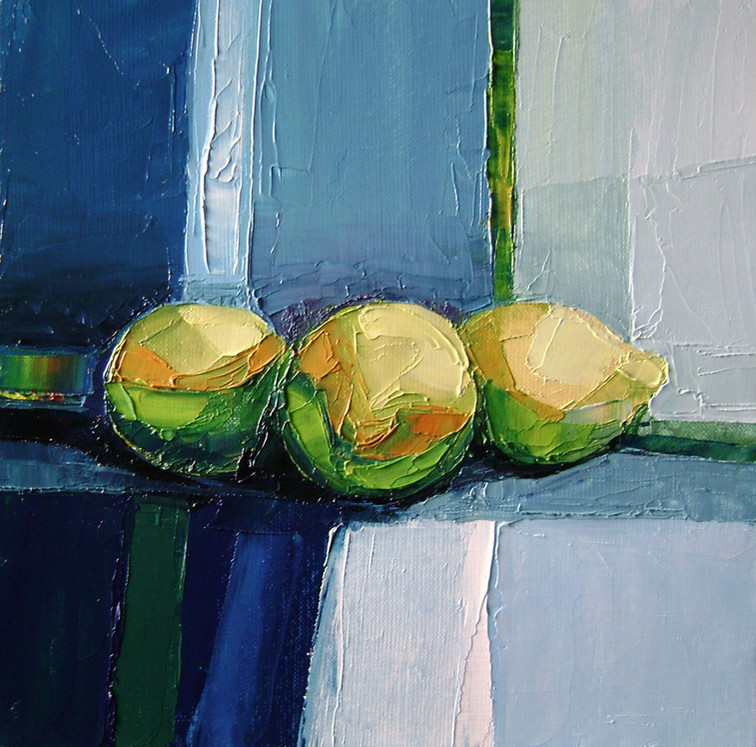 Citrons en bleu   30x30   Vendu