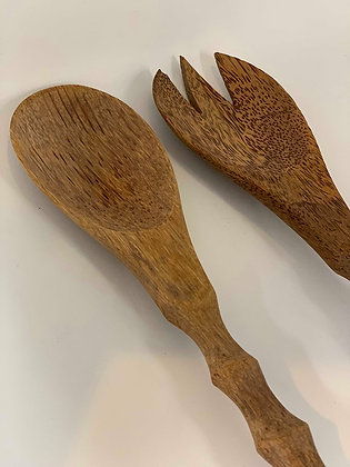Coconut Wood Salad Servers- Tall