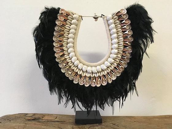 Feather and Shell on Stand Decor