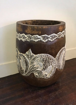 Carved Coconut Palm Pot