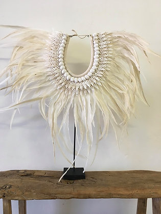 Boho Feather and Shell on stand Decor