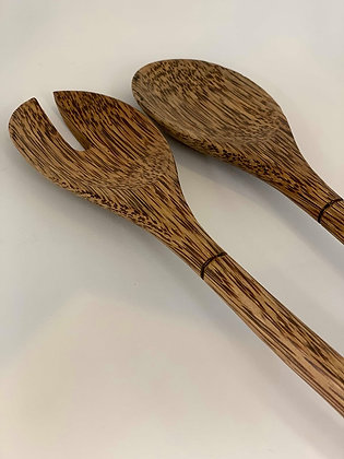Coconut Wood Salad Servers- short