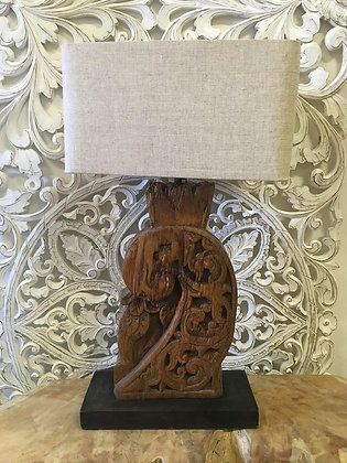 Antique Carved Timber Lamp