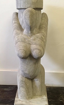 Limestone Woman Carving