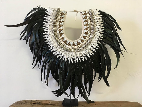 Boho Shell and Feathers on Stand Decor