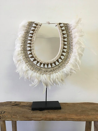 Boho Beaded Feather Necklace on stand