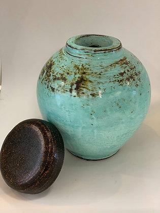 Ginger Pot- turquoise/ black lid