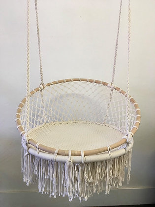 Macrame and Bamboo Swing Chair