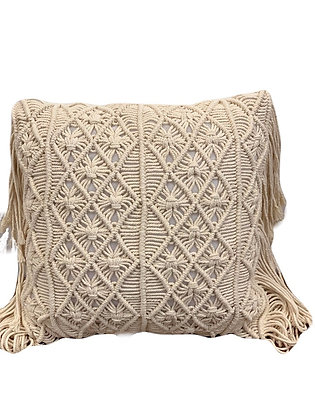 Macrame Fringe Cushion- cream