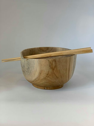 Timber Bowl With Chopsticks
