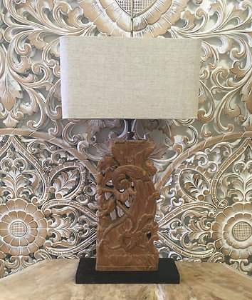 Antique Carved Timber Lamp Stand