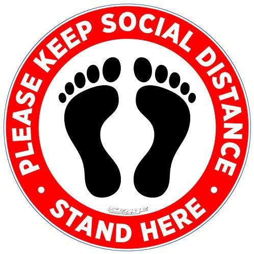 """Social Distancing Floor Sign12"""""""