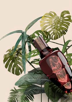 red botanical vase