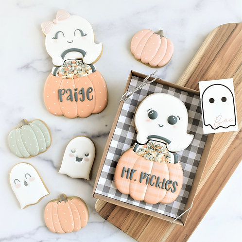Personalized Ghost Pumpkin (no bow) 2 piece gift set