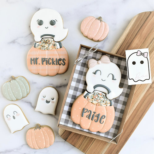 Personalized Ghost Pumpkin (with bow) 2 piece gift set