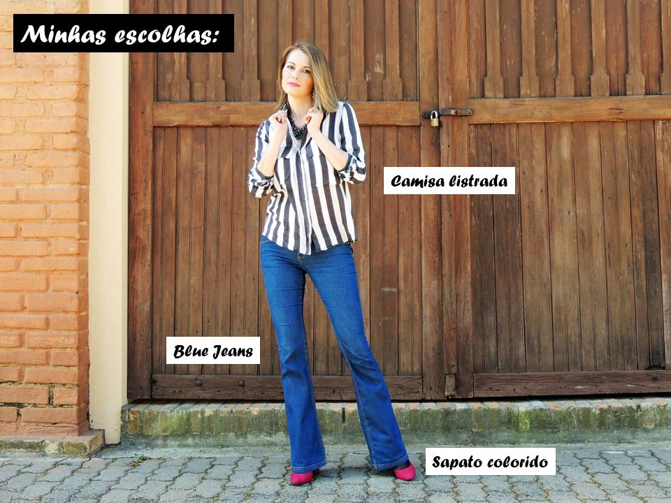 Cíntia Cortez consultora de estilo usa camisa listrada com blue jeans