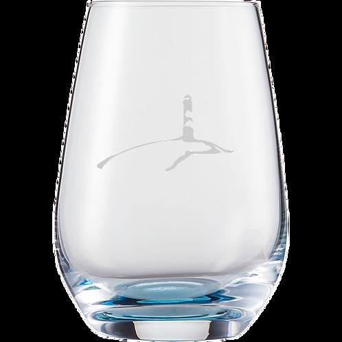 Wasserglas Blau Leuchtturm