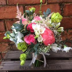 bridal bouquet peony spring wedding pink