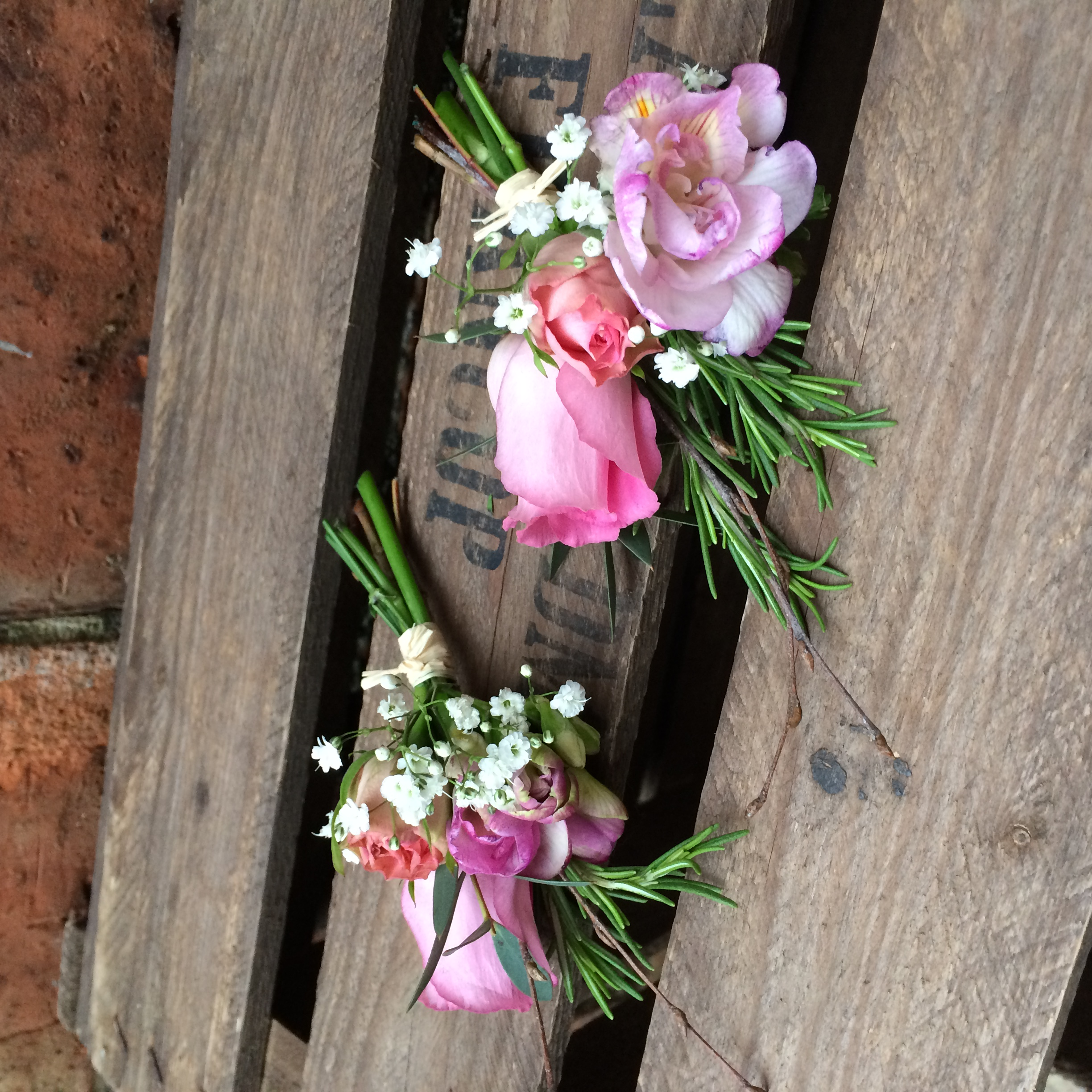 buttonholes rustic wedding pink freesia