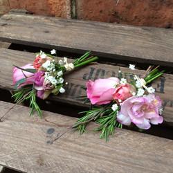 buttonholes rustic wedding pink freesia